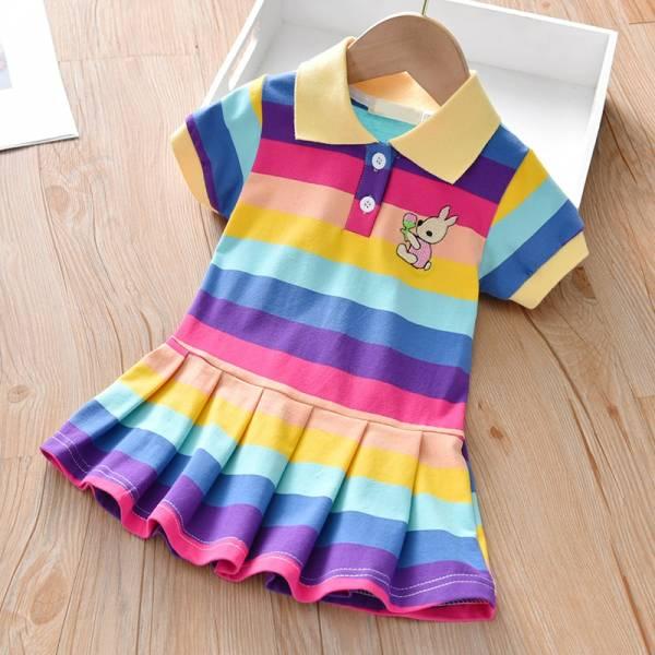 Summer Baby Girls Dress Clothing Cute Rainbow Short Sleeve Princess Dress Party Bunny Decoration Little Girl 1