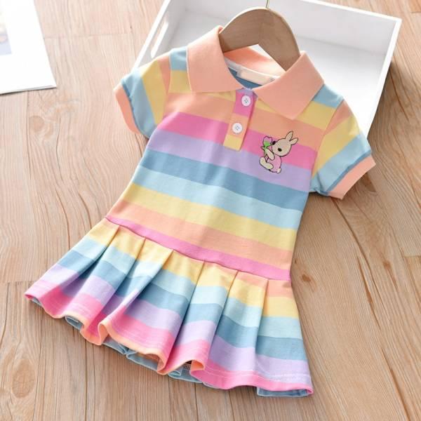 Summer Baby Girls Dress Clothing Cute Rainbow Short Sleeve Princess Dress Party Bunny Decoration Little Girl 2