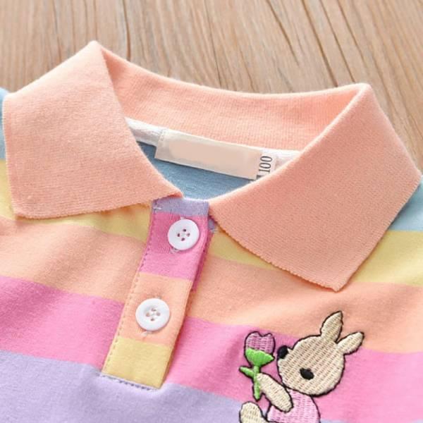 Summer Baby Girls Dress Clothing Cute Rainbow Short Sleeve Princess Dress Party Bunny Decoration Little Girl 3