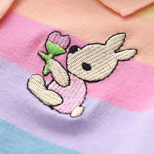 Summer Baby Girls Dress Clothing Cute Rainbow Short Sleeve Princess Dress Party Bunny Decoration Little Girl 4