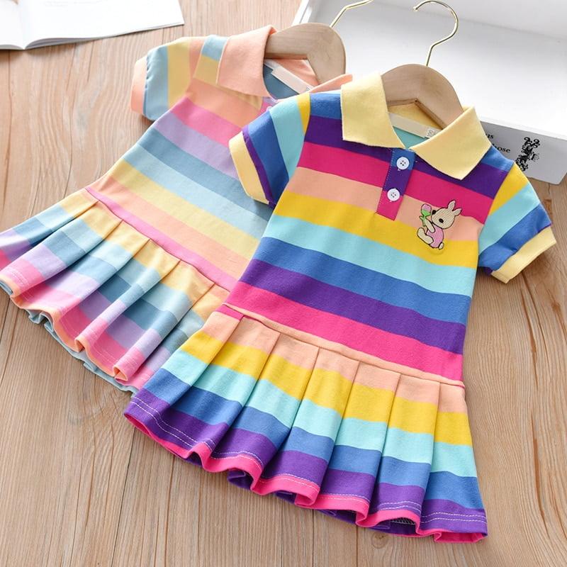 Summer Baby Girls Dress Clothing Cute Rainbow Short Sleeve Princess Dress Party Bunny Decoration Little Girl