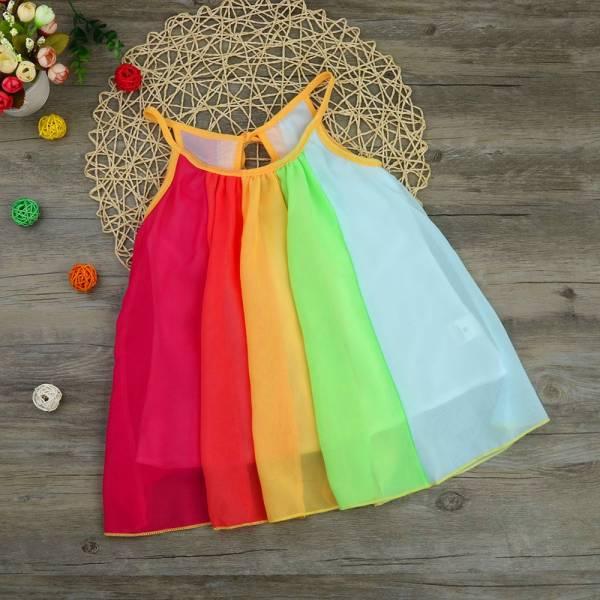 Summer Girl Princess Dress Toddler Kids Baby Girl Princess Clothes Sleeveless Chiffon Tutu Rainbow Dresses For 1