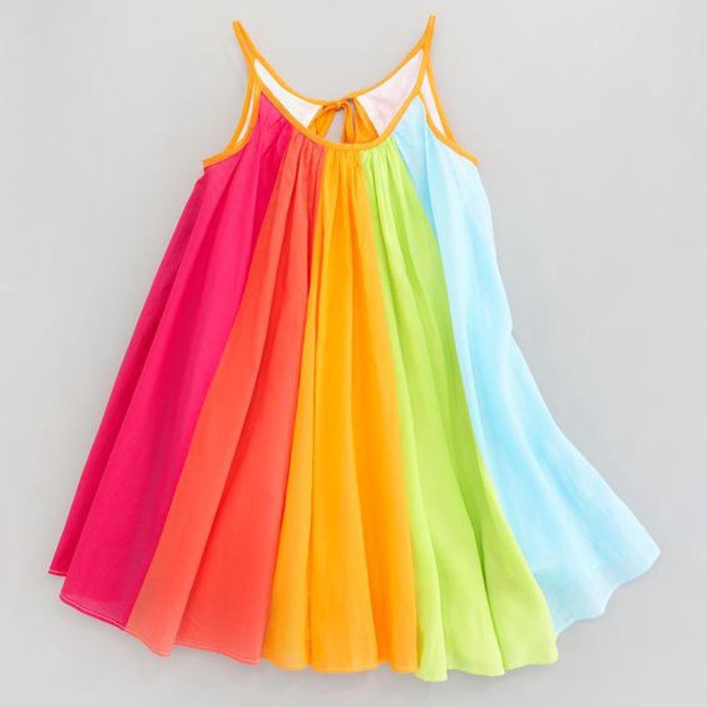 Summer Girl Princess Dress Toddler Kids Baby Girl Princess Clothes Sleeveless Chiffon Tutu Rainbow Dresses For