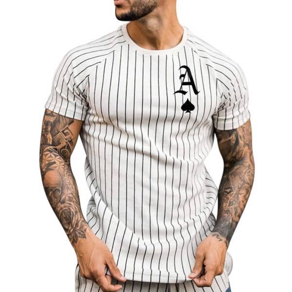 Summer T Shirt for Men Stripped Tshirt Men Clothing Streetwear Round Neck Shirt Fashion Poker Print 2