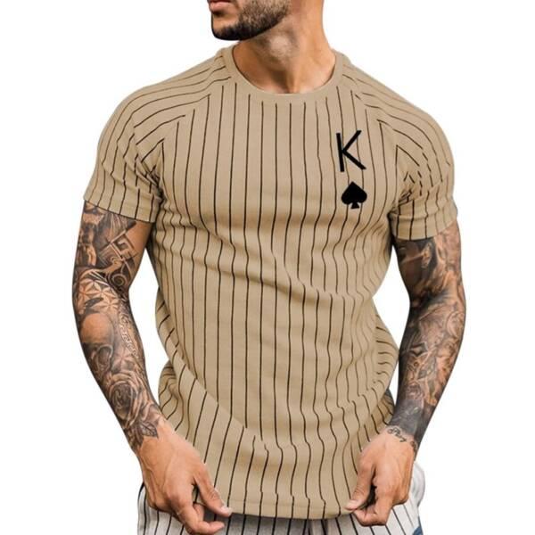 Summer T Shirt for Men Stripped Tshirt Men Clothing Streetwear Round Neck Shirt Fashion Poker Print 3