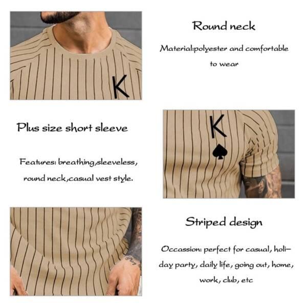 Summer T Shirt for Men Stripped Tshirt Men Clothing Streetwear Round Neck Shirt Fashion Poker Print 4