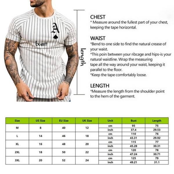 Summer T Shirt for Men Stripped Tshirt Men Clothing Streetwear Round Neck Shirt Fashion Poker Print 5