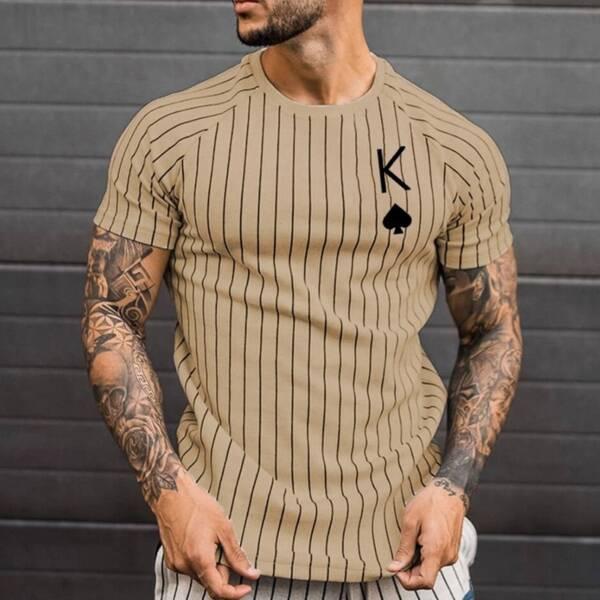 Summer T Shirt for Men Stripped Tshirt Men Clothing Streetwear Round Neck Shirt Fashion Poker Print