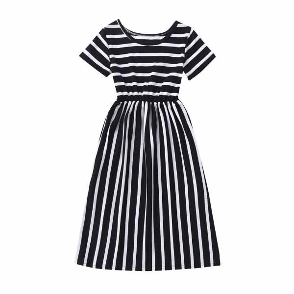 Toddler Baby Girls Short Sleeve Striped Print Dress Kids Dresses Clothes Cute Princess Dresses Girls Summer 1