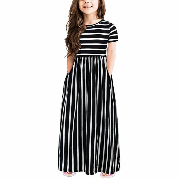 Toddler Baby Girls Short Sleeve Striped Print Dress Kids Dresses Clothes Cute Princess Dresses Girls Summer 2