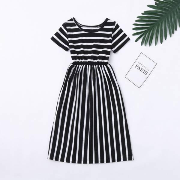 Toddler Baby Girls Short Sleeve Striped Print Dress Kids Dresses Clothes Cute Princess Dresses Girls Summer 3