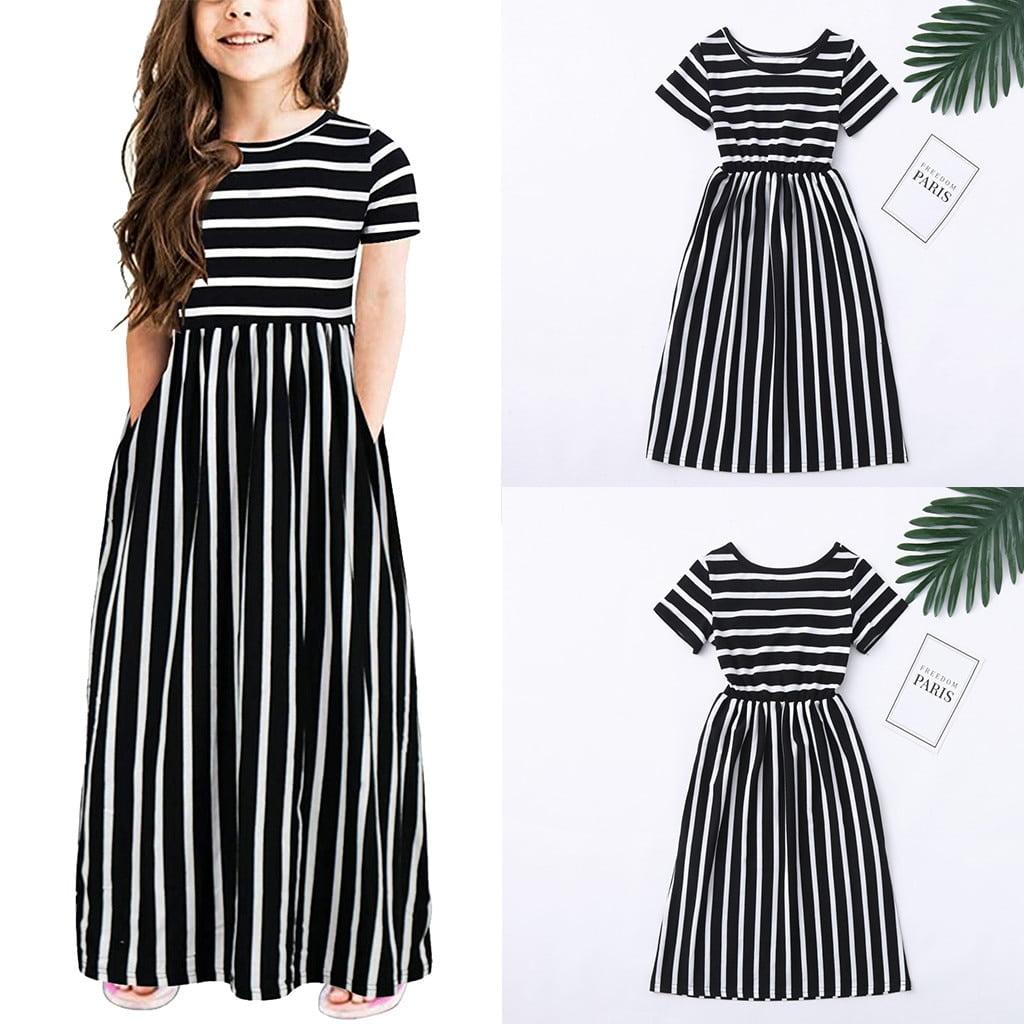 Toddler Baby Girls Short Sleeve Striped Print Dress Kids Dresses Clothes Cute Princess Dresses Girls Summer
