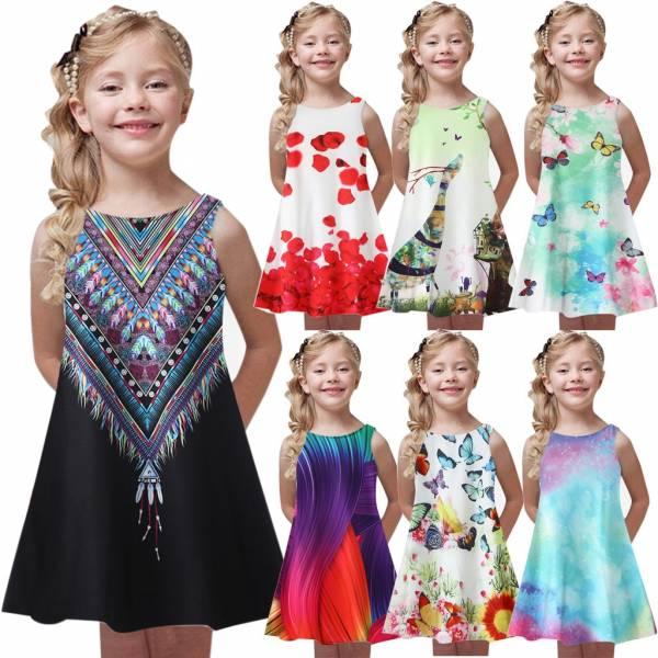 Toddler Girls Summer Fashion Princess Dress Kids Baby Printing Party Sleeveless Dresses Casual Kid Girl Children 7