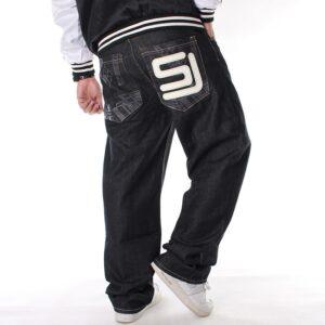 2021 Men s Black Baggy Jeans Hip Hop Designer Skateboard Pants loose Style True HipHop Rap