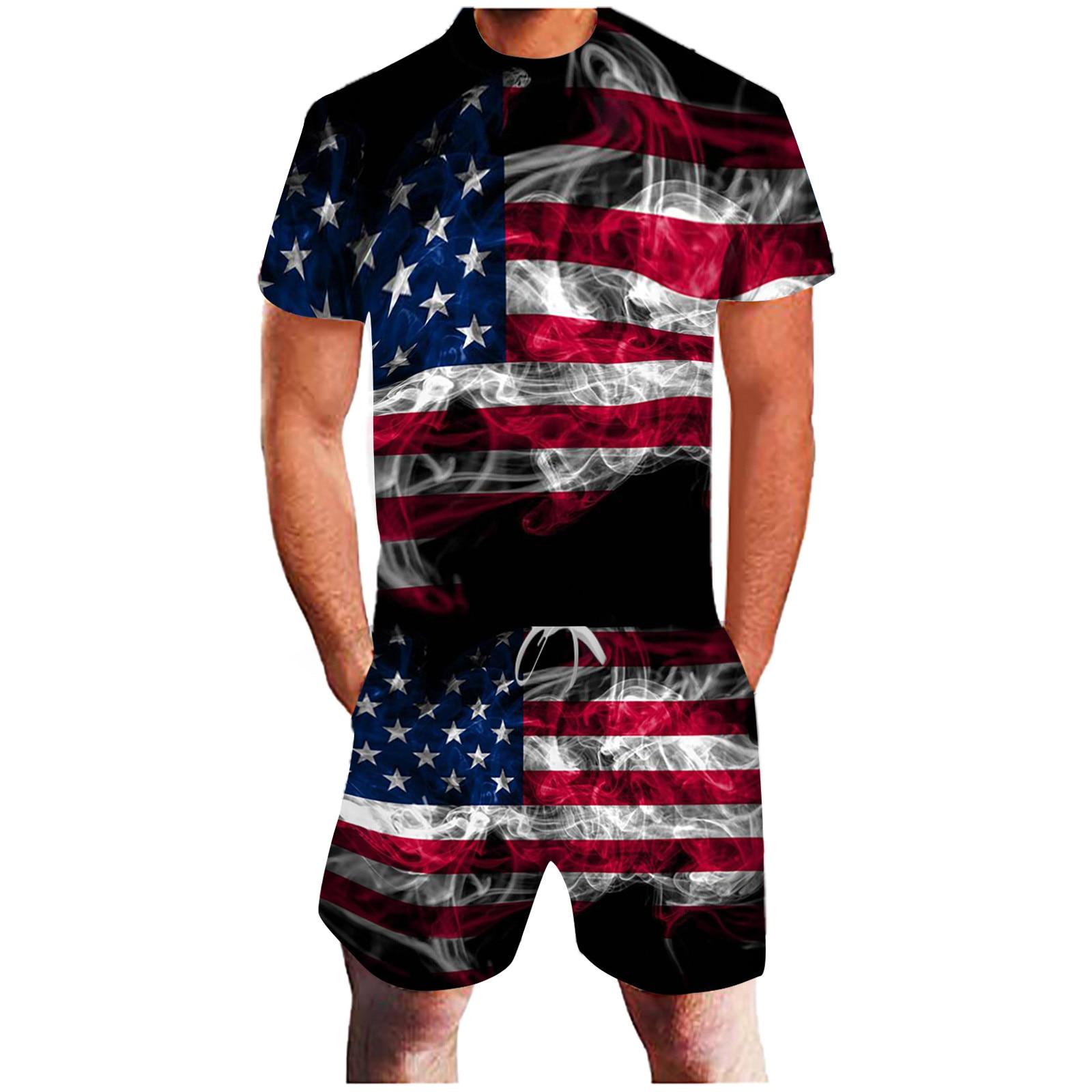 2021 New Brand Summer Men s American Flag Print Short Sleeve T shirt Set 2pieces Men