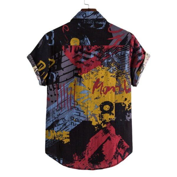 40 Summer Mens Linen Shirts Ethnic Printing Beach Short Sleeve Blouse Shirt Casual Loose Hawaiian Floral 1