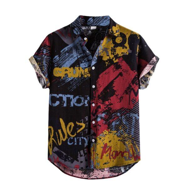 40 Summer Mens Linen Shirts Ethnic Printing Beach Short Sleeve Blouse Shirt Casual Loose Hawaiian Floral 2