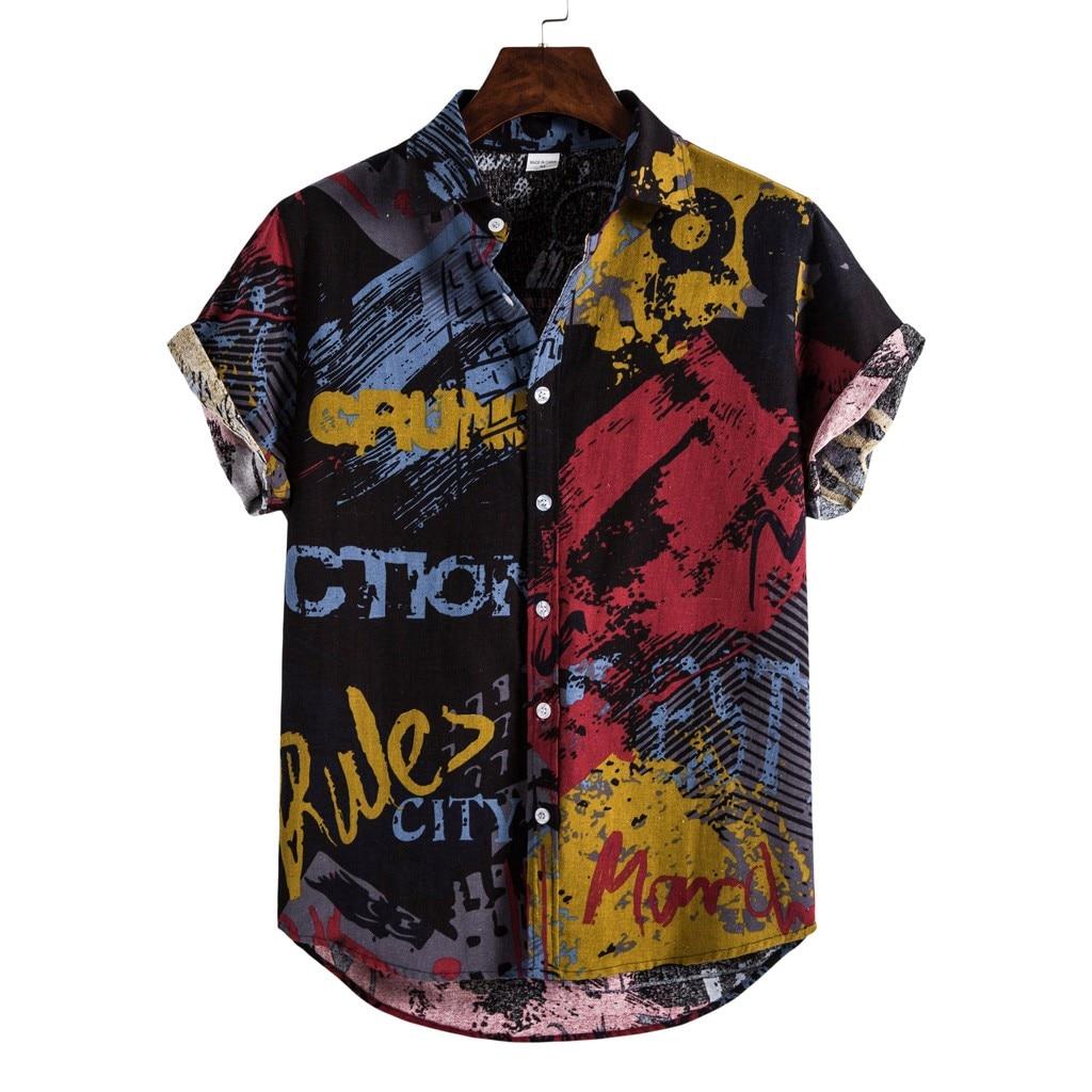 40 Summer Mens Linen Shirts Ethnic Printing Beach Short Sleeve Blouse Shirt Casual Loose Hawaiian Floral