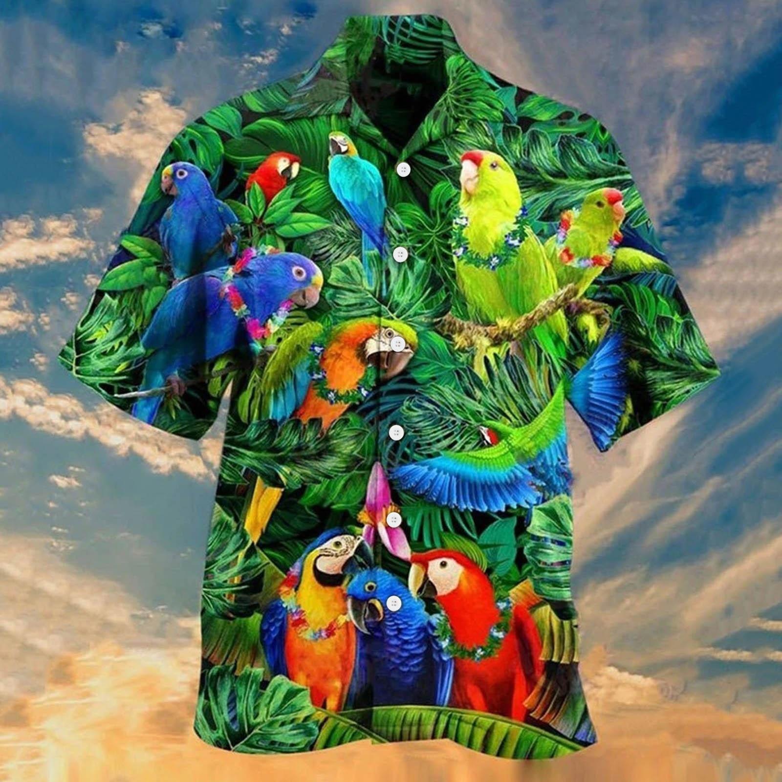 Animal Parrot Print Patchwork Fashion Hawaiian Men Shirt Cool Turn Down Collar Short Sleeve Streetwear Beach