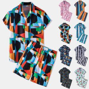 Fashion Hawaiian Print Men Sets Short Sleeve Shirt Beach Floral Print Shorts Men Daily Casual Beach