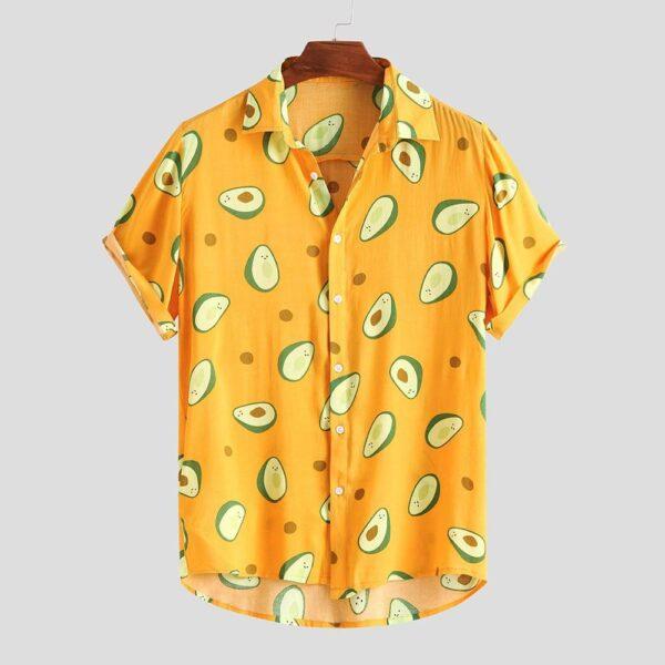 Fluorescent Color Men Shirt Summer High Quality Breathable Hawaiian Shirt Camisa Masculina Avocado Casual Male Printed 1