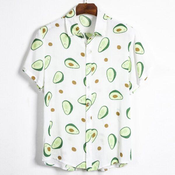 Fluorescent Color Men Shirt Summer High Quality Breathable Hawaiian Shirt Camisa Masculina Avocado Casual Male Printed 3