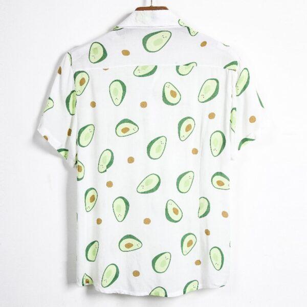 Fluorescent Color Men Shirt Summer High Quality Breathable Hawaiian Shirt Camisa Masculina Avocado Casual Male Printed 4