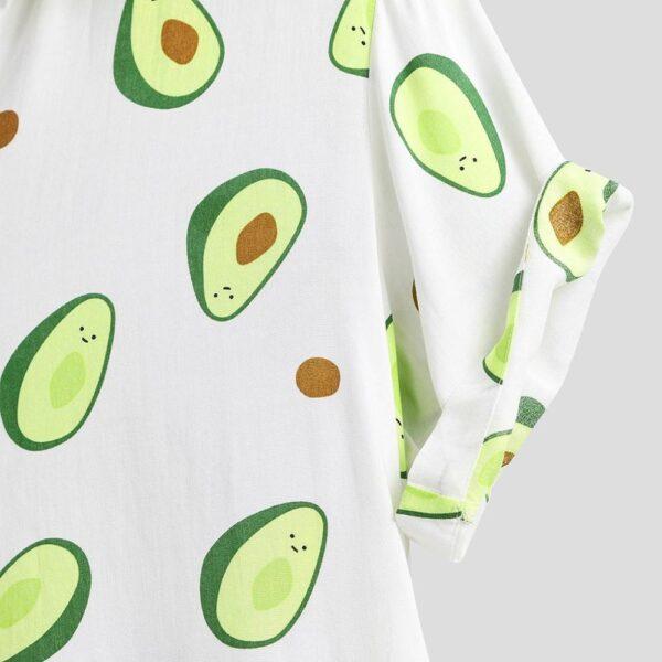 Fluorescent Color Men Shirt Summer High Quality Breathable Hawaiian Shirt Camisa Masculina Avocado Casual Male Printed 5