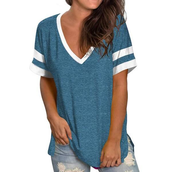 Green T Shirt Casual V neck Plus Size 3XL Short Sleeve T shirt Soft Ladies Summer 2