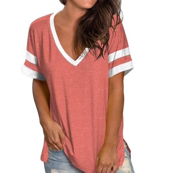 Green T Shirt Casual V neck Plus Size 3XL Short Sleeve T shirt Soft Ladies Summer 3