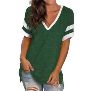 Green T Shirt Casual V neck Plus Size 3XL Short Sleeve T shirt Soft Ladies Summer