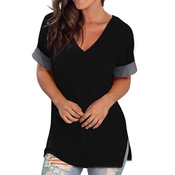 Green T Shirt Casual V neck Plus Size 3XL Short Sleeve T shirt Soft Ladies Summer 4
