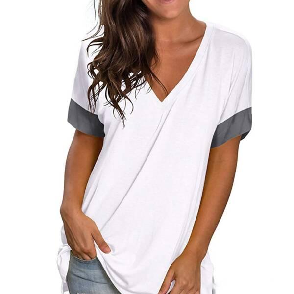 Green T Shirt Casual V neck Plus Size 3XL Short Sleeve T shirt Soft Ladies Summer 5