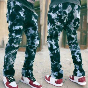 JAYCOSIN Fashion Men s Tie dye Jeans Loose Printed Straight Denim Trousers Casual Straight Leg Jeans