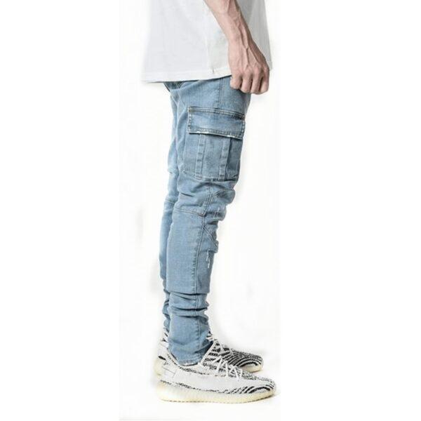 Jeans Men Pants Casual Cotton Denim Trousers Multi Pocket Cargo Jeans Men New Fashion Denim Pencil 3