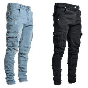 Jeans Men Pants Casual Cotton Denim Trousers Multi Pocket Cargo Jeans Men New Fashion Denim Pencil