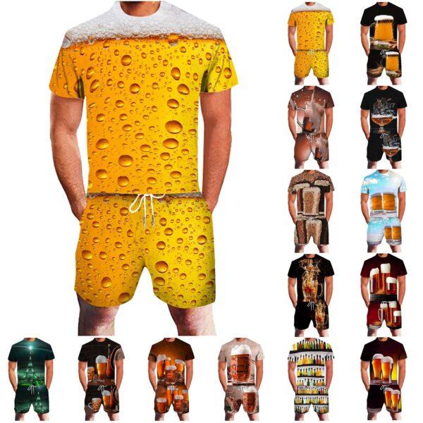 Jogging Men s clothing Summer Men s sets Leisure Sports 3D Beer Plus Size Fitness Running 2