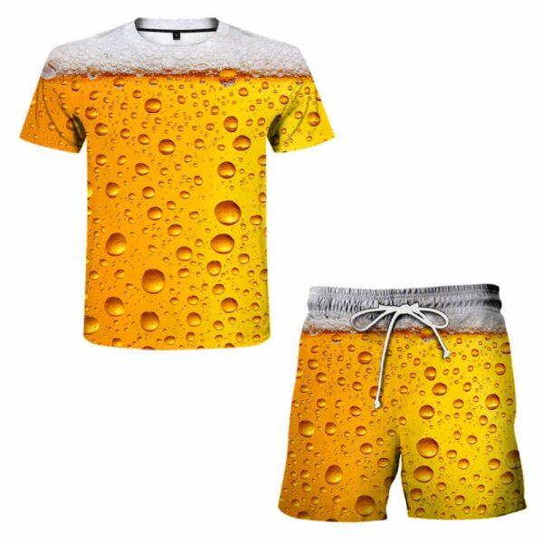 Jogging Men s clothing Summer Men s sets Leisure Sports 3D Beer Plus Size Fitness Running 3