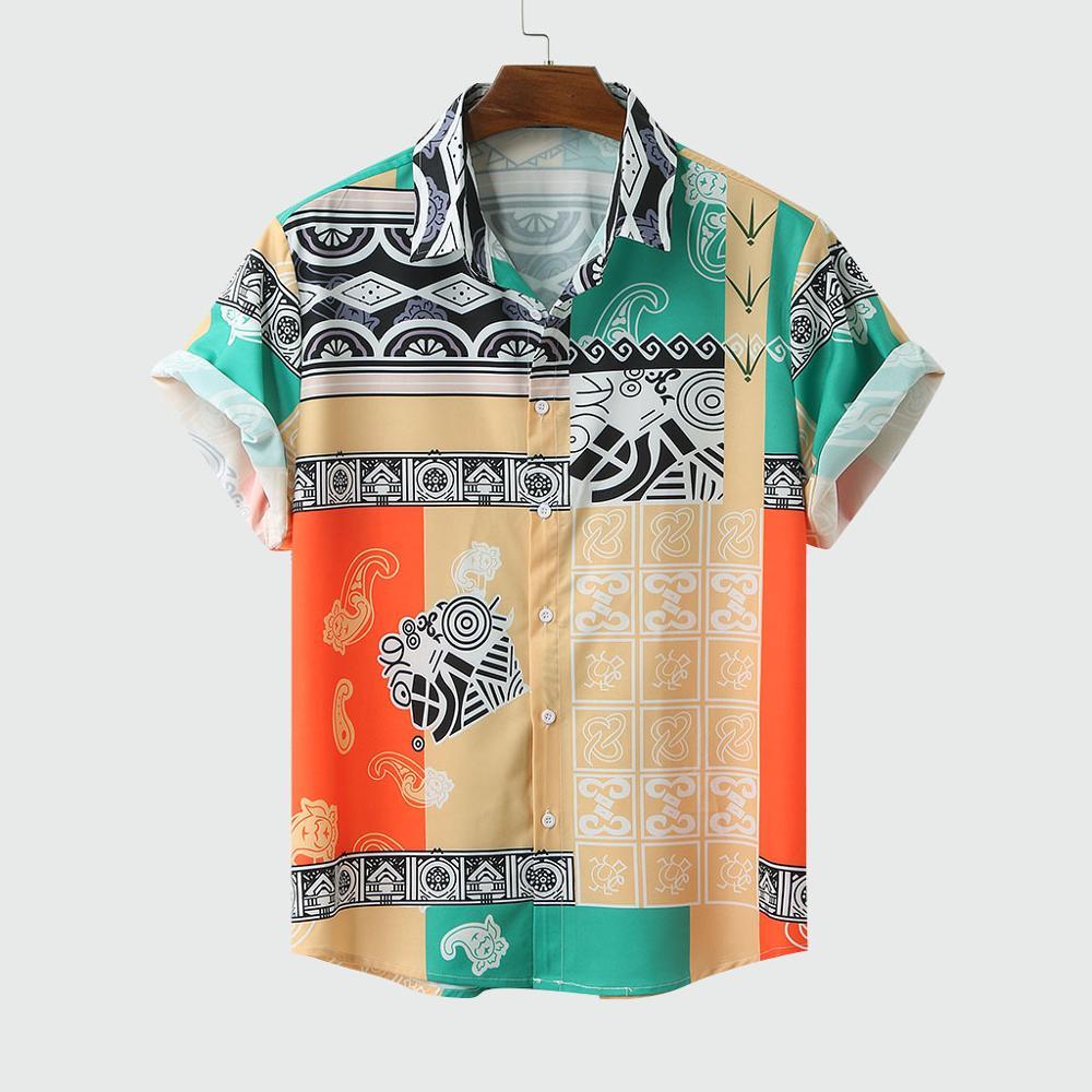 Men Shirt Short Sleeve Top Summer Cotton Shirts 2020 New Male Shirts Beach Wear Hawaiian Shirts