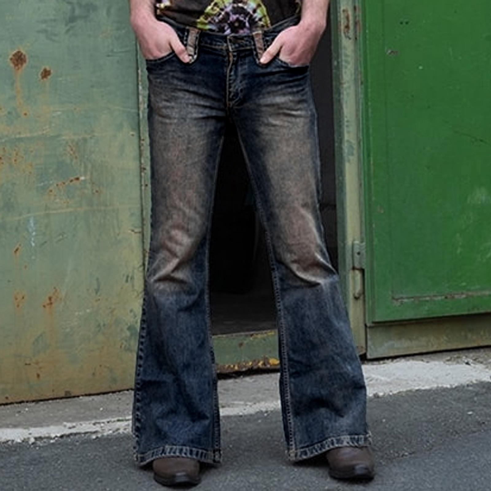 Men s Jeans Fashion Men s Vintage Punk Full Length Light Wash Bootcut Jeans Pocket Flare