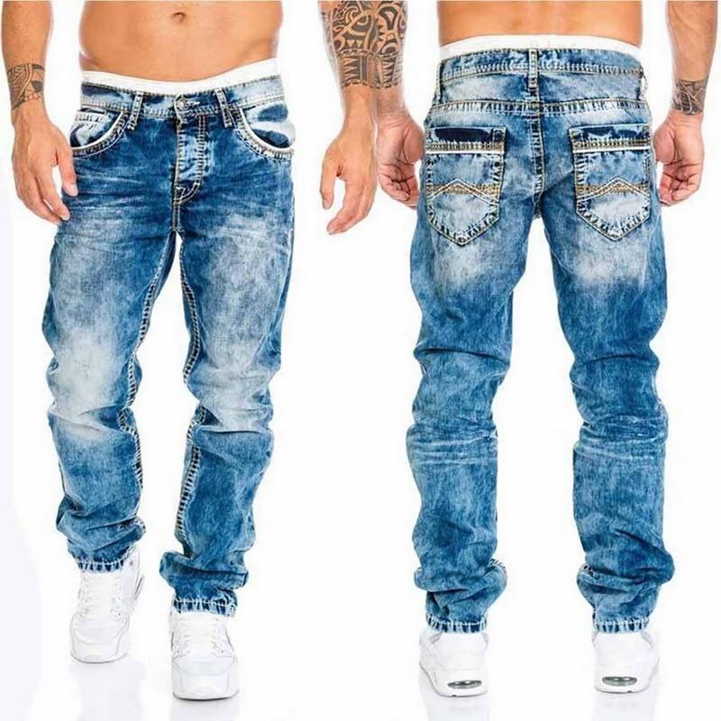 Puimentiua 2021 New Jeans Men Elastic Waist Skinny Jeans Men Fashion Stretch Ripped Pants Streetwear Mens