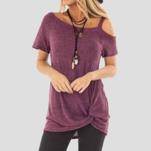 Sexy T Shirt Women Cold shoulder Short Sleeve 2021 New Summer Tee Shirts Women Clothes Fashion