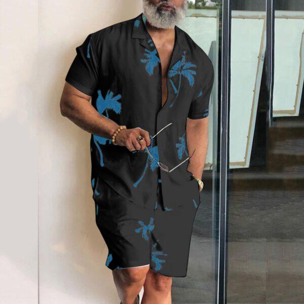 Short Sleeve Palm Tree Printed Shirt Men Causal Blouse Shorts Suit Summer 2 Piece Clothing Beach 1