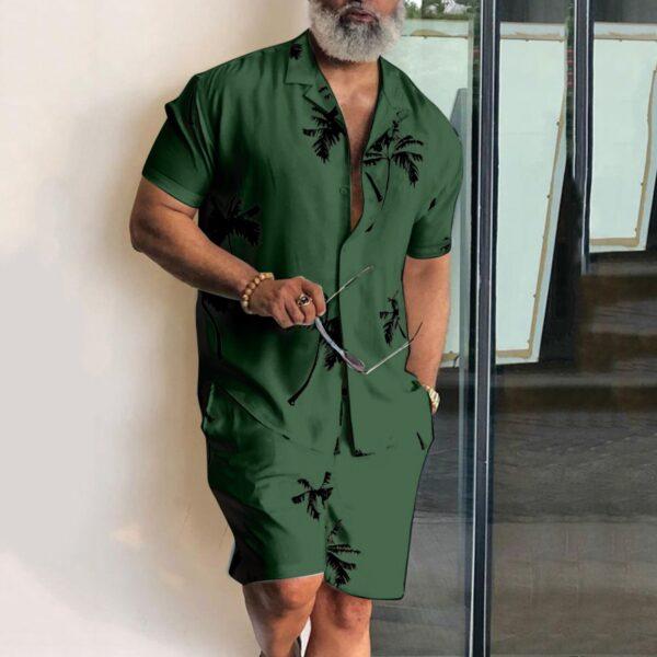 Short Sleeve Palm Tree Printed Shirt Men Causal Blouse Shorts Suit Summer 2 Piece Clothing Beach 2