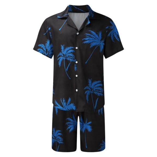 Short Sleeve Palm Tree Printed Shirt Men Causal Blouse Shorts Suit Summer 2 Piece Clothing Beach 3