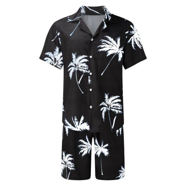 Short Sleeve Palm Tree Printed Shirt Men Causal Blouse Shorts Suit Summer 2 Piece Clothing Beach 4
