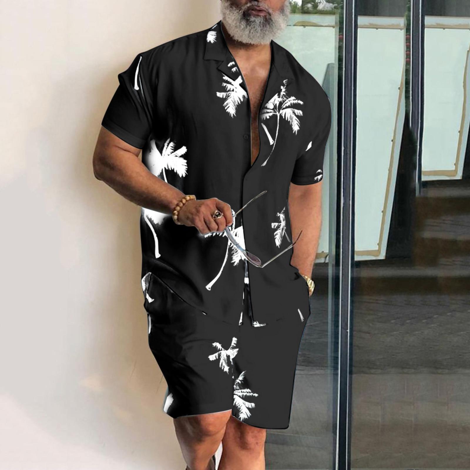 Short Sleeve Palm Tree Printed Shirt Men Causal Blouse Shorts Suit Summer 2 Piece Clothing Beach