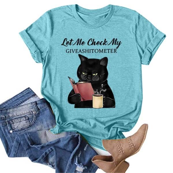 Summer Cotton Women T Shirt Plus Size Lovely Cat Print Short Sleeve Graphic Tee Shirt Casual 2