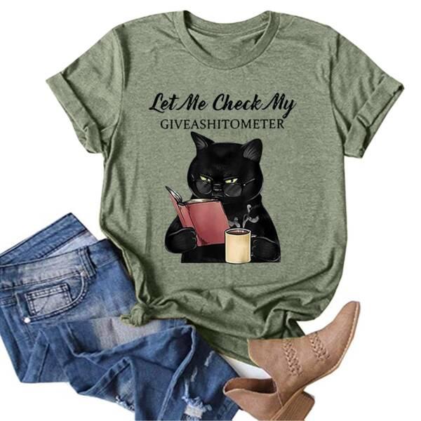 Summer Cotton Women T Shirt Plus Size Lovely Cat Print Short Sleeve Graphic Tee Shirt Casual