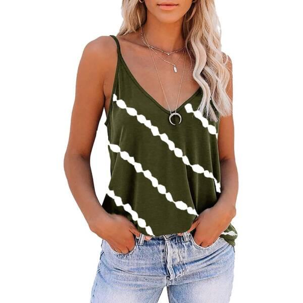 Women Diagonal Striped Print Tank Tops Summer Sleeveless Tie Dye Sexy V Neck Loose Tank Casual 1